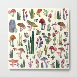 nature cactus and mushrooms Metal Print