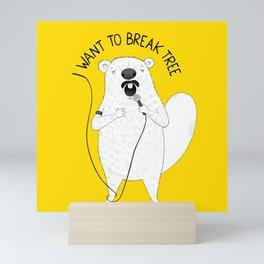 Beaver singing Queen | Animal Karaoke | Illustration Mini Art Print