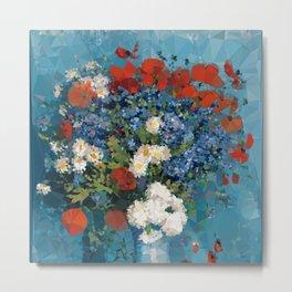 Van Gogh Poppies Cornflowers Blue Vase Low Poly Metal Print