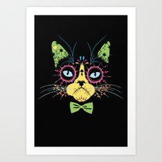 Sugar skull cat Art Print
