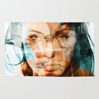 angelina jolie Area & Throw Rugs featuring faces of Angelina Jolie by Karma