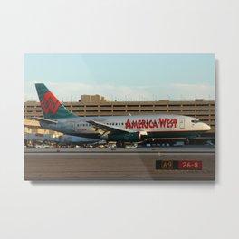 America West Airlines 737-200 landing Metal Print