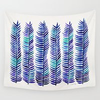 indigo Wall Tapestries featuring Indigo Seaweed by Cat Coquillette