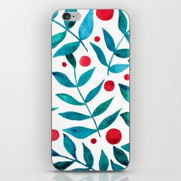 Watercolor berries and branches - turquoise and red iPhone Skin