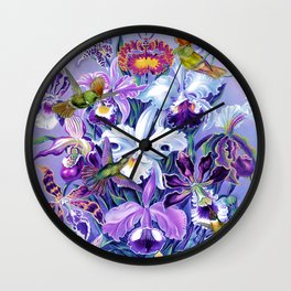 Orchids & Hummingbirds Wall Clock