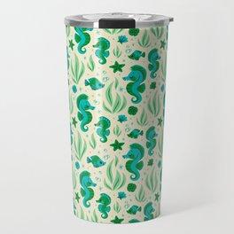 Seahorses (Blue & Green) Travel Mug