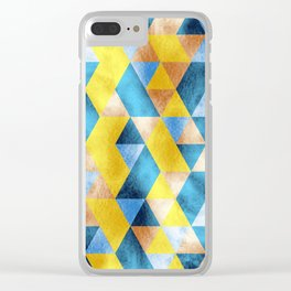 Blue and yellow textured triangles Clear iPhone Case