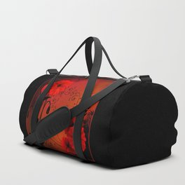 Poppy flowers, sunset Duffle Bag