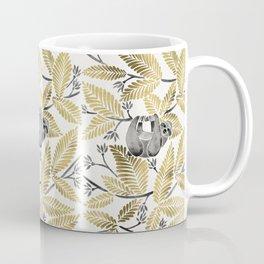 Happy Sloth – Tropical Gold Leaves Coffee Mug