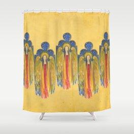 Golden Celestial Winged Angel Shower Curtain