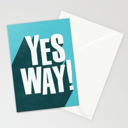 Yes Way white and blue inspirational typography poster bedroom wall home decor Stationery Cards