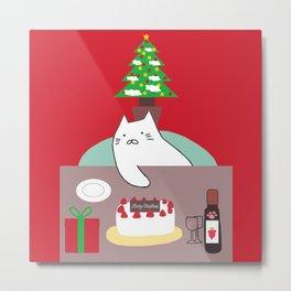 cat Christmas tree 15 Metal Print
