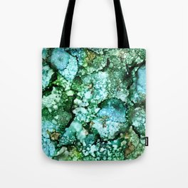 Window View on a Rainy Spring Day - Green, Blue, Brown Ink Drops Tote Bag