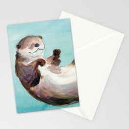Swimming otter watercolor Stationery Cards