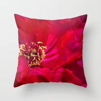 peony Throw Pillows featuring Peony by Christine Belanger