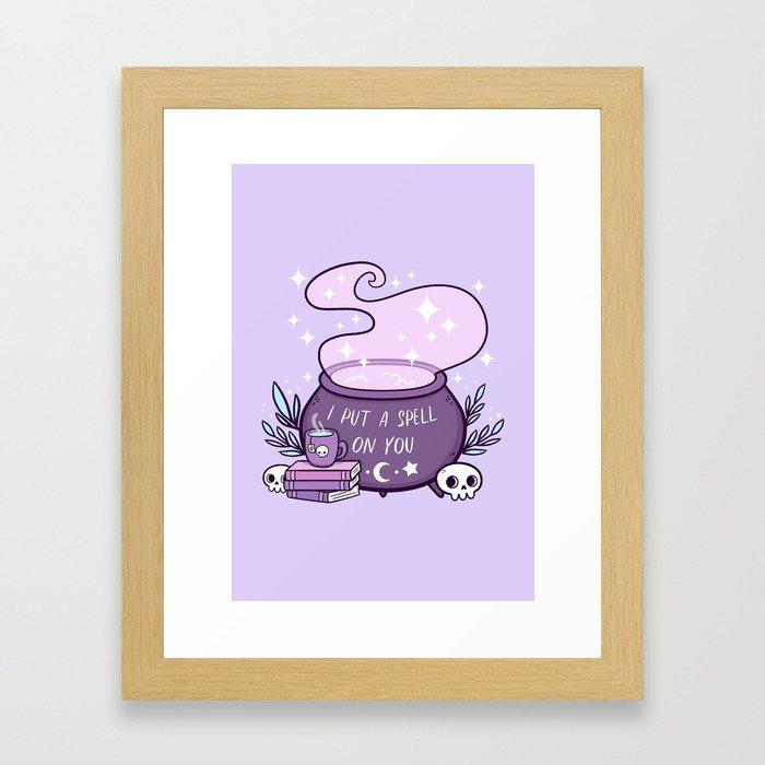 Witch Cauldron // Purple Framed Art Print