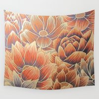 lotus flower Wall Tapestries featuring Lotus by Jess Moore