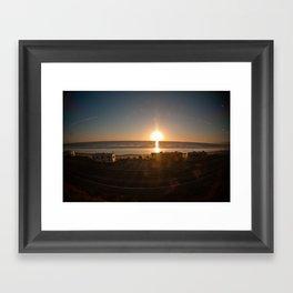 sunset on a train Framed Art Print