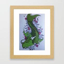 Green koi dragon Framed Art Print