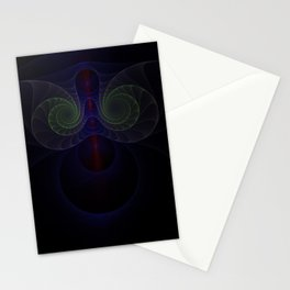 Neon colours spiral fractal picture on the dark background Stationery Cards