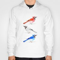 jay fleck Hoodies featuring Red jay, white jay, blue jay. by The animals moved to - society6.com/dian