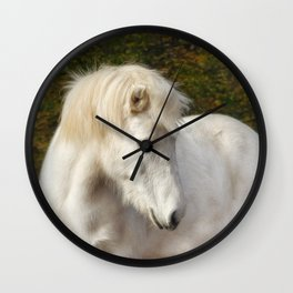 White horse in the autumn forest Wall Clock
