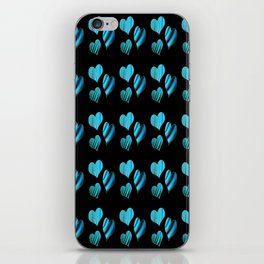 Hearts with Structure (blue) iPhone Skin