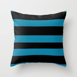 Primary Blue, Wishing Well Blue, Amazing Sky Blue, Blue to the Bone Hand Drawn Fat Horizontal Stripe Throw Pillow