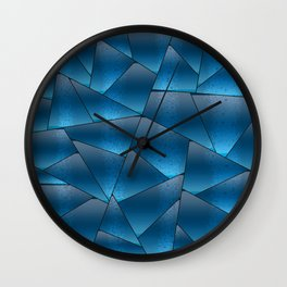 Geometric abstract shapes in blue gradient Wall Clock