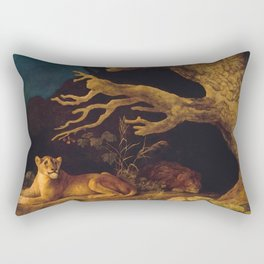 Lion and lioness - George Stubbs - 1771 Rectangular Pillow