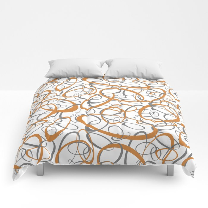 orange and gray loopy geometric ovals Comforters
