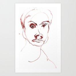 Portrait in red ink 1997 Art Print