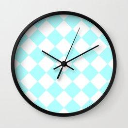 Large Diamonds - White and Celeste Cyan Wall Clock