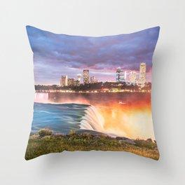 Niagara Falls: The Flow Aglow Throw Pillow