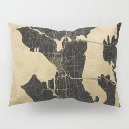 Seattle Black and Gold Map Pillow Sham