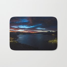 Sunrise on the lake Bath Mat
