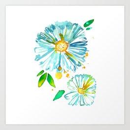 Lakeside Watercolour Blue Daisies Art Print