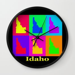 Colorful Idaho State Pop Art Map Wall Clock