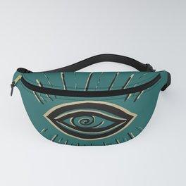 Evil Eye Gold Black on Teal #1 #drawing #decor #art #society6 Fanny Pack