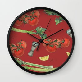 cocktail recipe pattern_ bloody mary Wall Clock