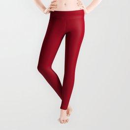 Red Rose Solid Color Leggings
