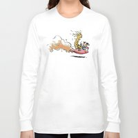 hobbes Long Sleeve T-shirts featuring Let's Go Exploring! (Rocket Raccoon & Groot & Calvin & Hobbes mashup) by Adifitri