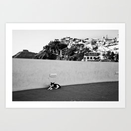 Santorini Cat Art Print