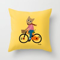 cycling Throw Pillows featuring Sam's Cycling by BATKEI