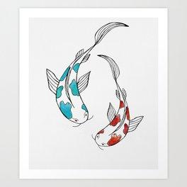 Bright watercolor koi fish pair Art Print