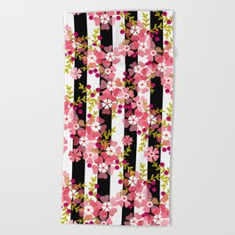 Floral pattern black and white striped background Beach Towel