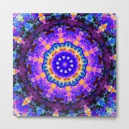 Mandala blue purple pink Metal Print