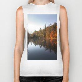 Mirrored Lake in Fall Biker Tank