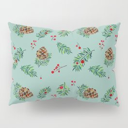 Winter Pinecones and Holly Berries / Watercolor Pattern Pillow Sham