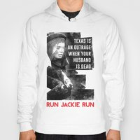 jfk Hoodies featuring Misfits JFK Poster Series - Your Husband is Dead by Robert John Paterson